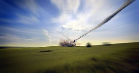 the aircraft crashing (3d rendering) photo