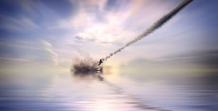 the aircraft crashing in ocean (3d rendering) photo