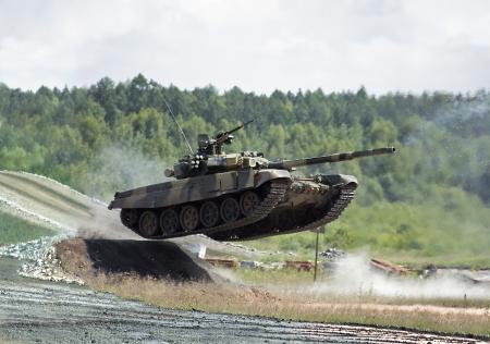 jumping t-90 tank photo photo