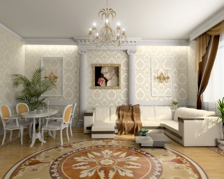 room wallpaper: modern living room interior  (3D rendering) Stock Photo