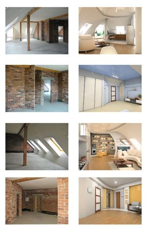 plasterboard: apartment interior frame and design project set Stock Photo