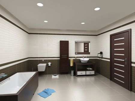 bath room: modern bathroom interior (3D rendering) Stock Photo