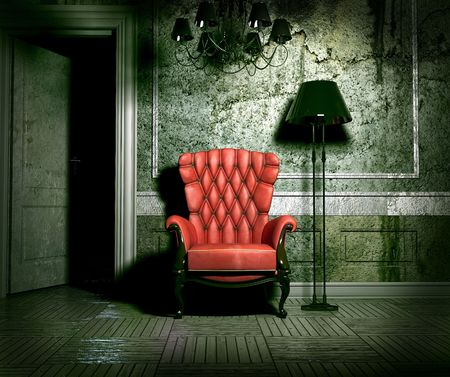 luxury armchair in grunge interior (3D rendering)