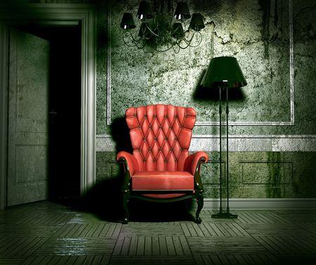 habitacion desordenada: Sill�n de lujo en el interior de grunge (3D)