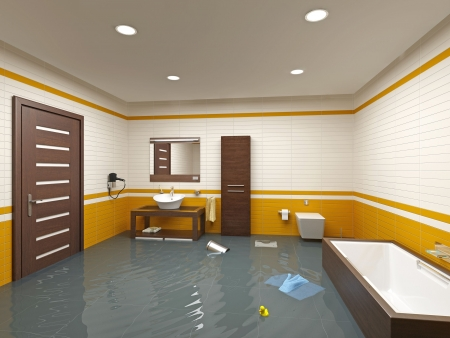 mirror on the water: flooding bathroom interior ( 3D rendering )