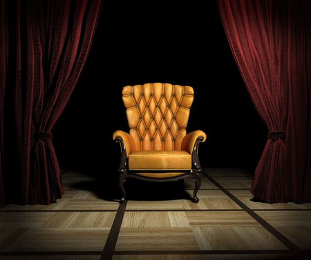 luxury leather armchair and red curtain above interior (3D)