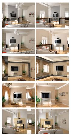 modern interior project scetch set (different styles) - 3D photo