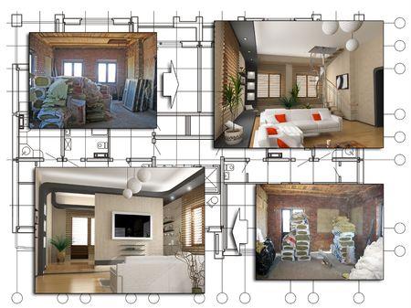 perspectiva lineal: el dise�o del proyecto de apartamento (antes y despu�s)