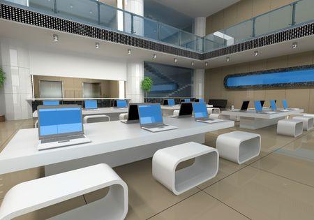 modern office interior (3D rendering) photo