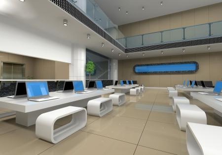 mobiliario de oficina: interior de la oficina moderna (3D rendering)