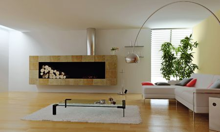 modern interior with fireplace (3d render) Stock Photo - 5433689
