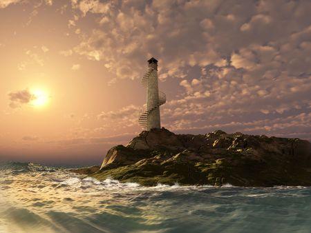 mare mosso: paesaggio tramonto Faro (3d rendering)