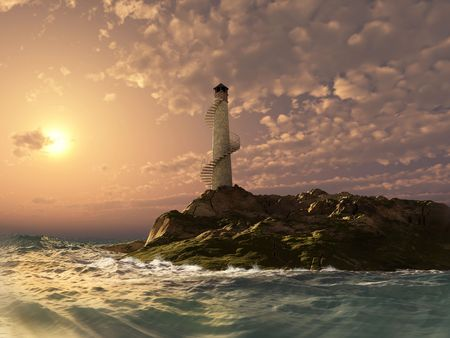 sunset lighthouse landscape ( 3d rendering) photo