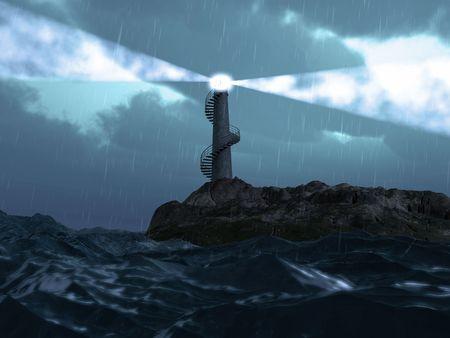 mare mosso: illuminazione faro nel paesaggio Meteo tempesta (3d rendering)
