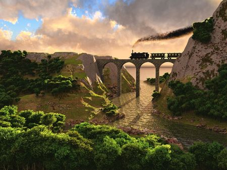 forest railway: Old steam train crossing a bridge over sunset background (3D)