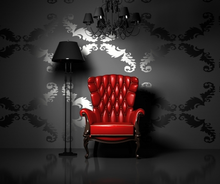 red chair: 3D interior scene with classic armchair and lamp
