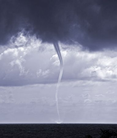 waterspout: tornado over sea in the Black sea