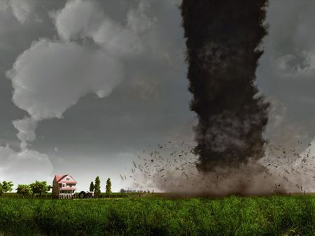 windstorm: tornado,  approaching to country house (3D rendering) Stock Photo