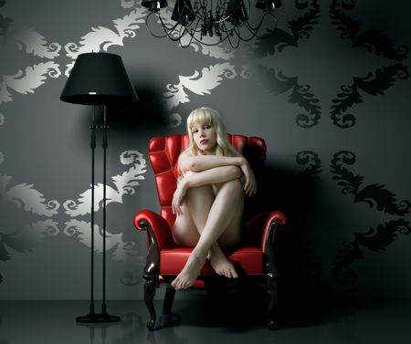 naked woman in red archair (cg background)