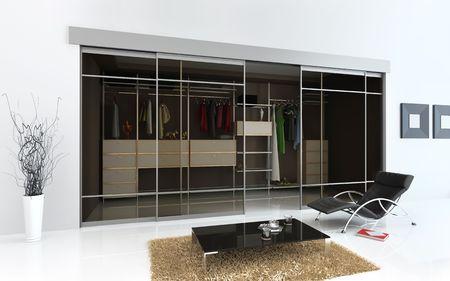 closet door: modern  interior with cloakroom (3D rendering) Stock Photo
