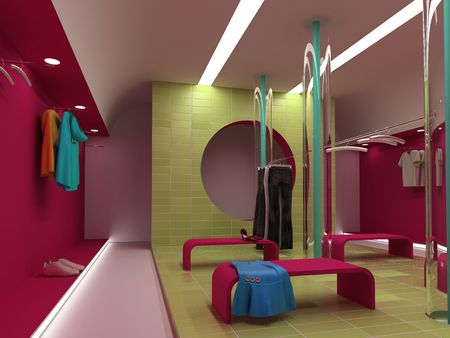 modern clothing  store interior (3D rendering) photo