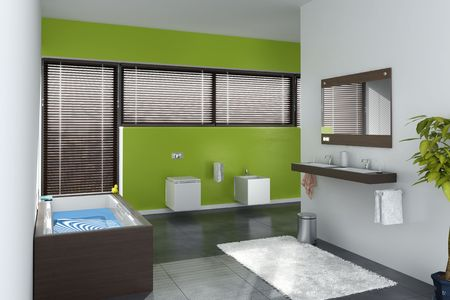 modern bathroom interior (3D rendering) photo