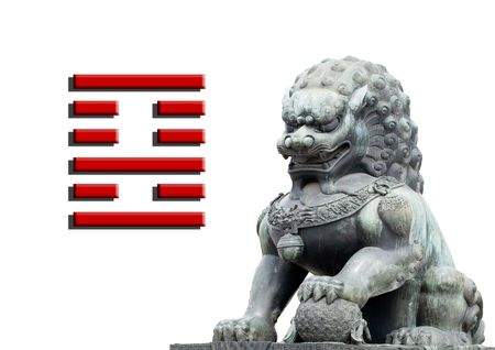 isolated china  lion sculpture blank banner with place for your text  Stock Photo