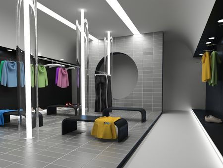 kledingwinkel: moderne kleding winkel interieur (3D rendering)