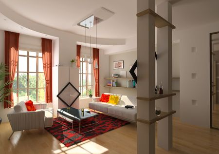 modern living room interior (3D rendering) Stock Photo - 6449773