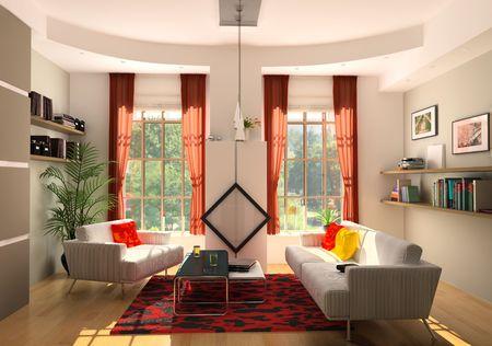 modern living room interior (3D rendering) Stock Photo - 6494381