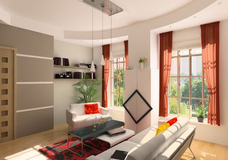 modern living room interior (3D rendering) photo