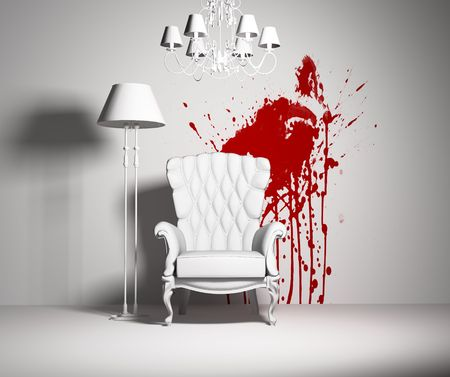 white interior with armchair and red blot on the wall photo