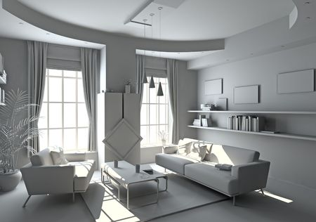 modern white interior ( 3d rendering ) photo