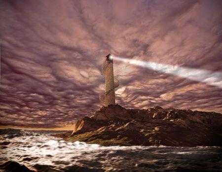 beacon light: sunset lighthouse landscape ( 3d rendering) Stock Photo