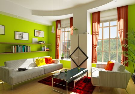 curtain window:  modern living room interior (3D rendering)