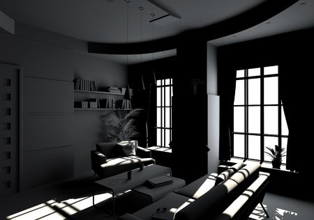 modern living room inter in BW style(3D rendering) Stock Photo - 6670771
