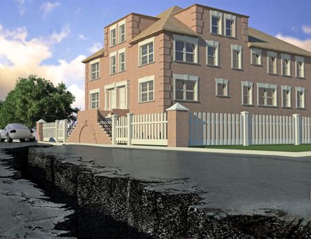 crack in the road, the sign of an earthquake near the house (3D illustration) illustration