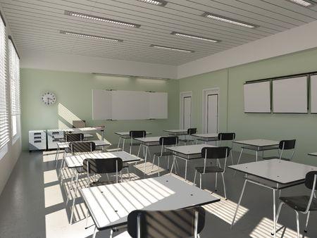 el interior del aula (renderización 3D)