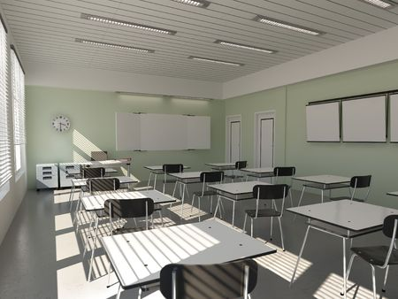 secondary school: the interior of classroom (3D rendering)