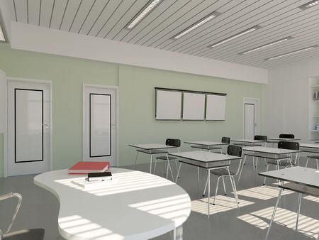 the interior of classroom (3D rendering) photo