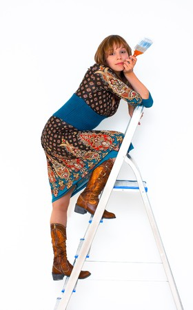 stepladder: young woman on step-ladder