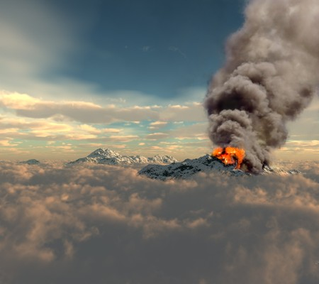 snowcapped mountain: erupting of volcano over the clouds (3D rendering)