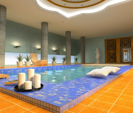 modern luxury spa interior ( 3d rendering )  photo