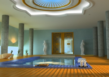 modern luxury spa interior with DOF effect( 3d rendering )  photo
