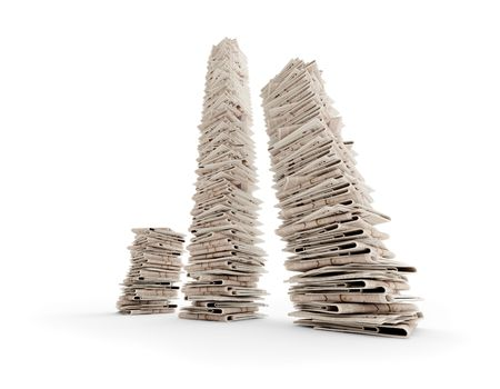 heap: tree isolated newspaper towers (3D rendering)