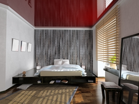 modern bedroom interior (3D rendering)  photo