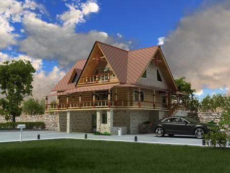 Beautiful luxury home (3D rendering) photo