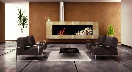 fireplace living room: modern living room interior (3D rendering)  Stock Photo