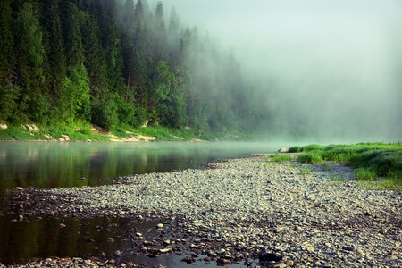 beautiful fog on a river photo photo