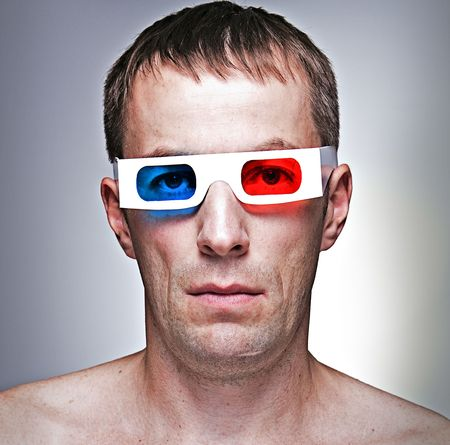 man head with 3D - effect anaglyph glasses photo